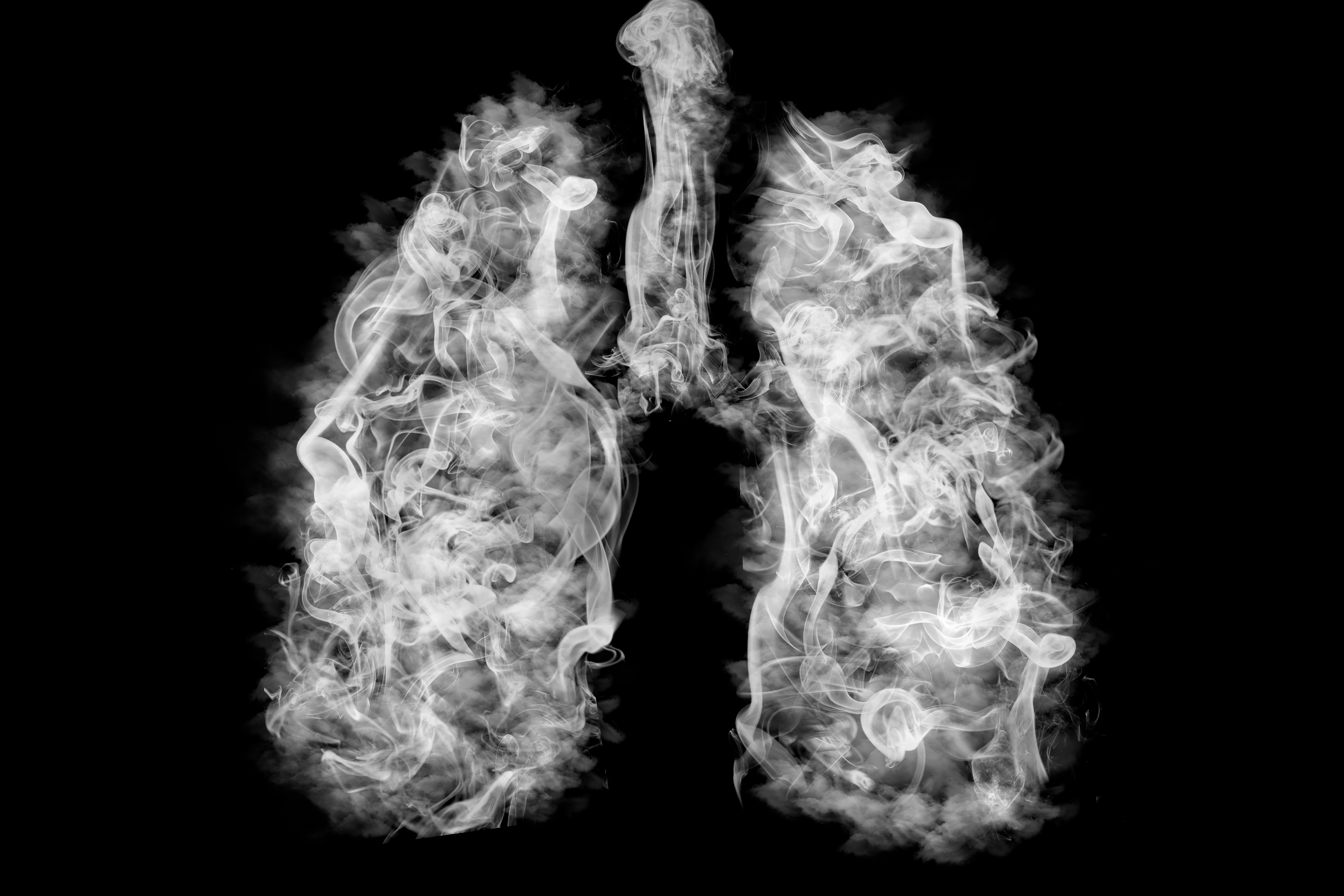Lungs filled with tobacco smoke signifying how smoking causes lung damage