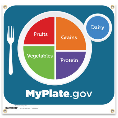 MyPlate Banner, printed lime green background MyPlate logo on vinyl banner with grommets in corners, Health Edco, 18087