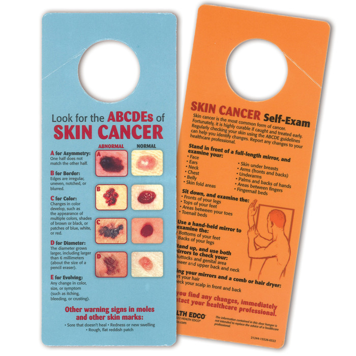 skin cancer self-exam door hanger, warning signs, Health Edco, 21244