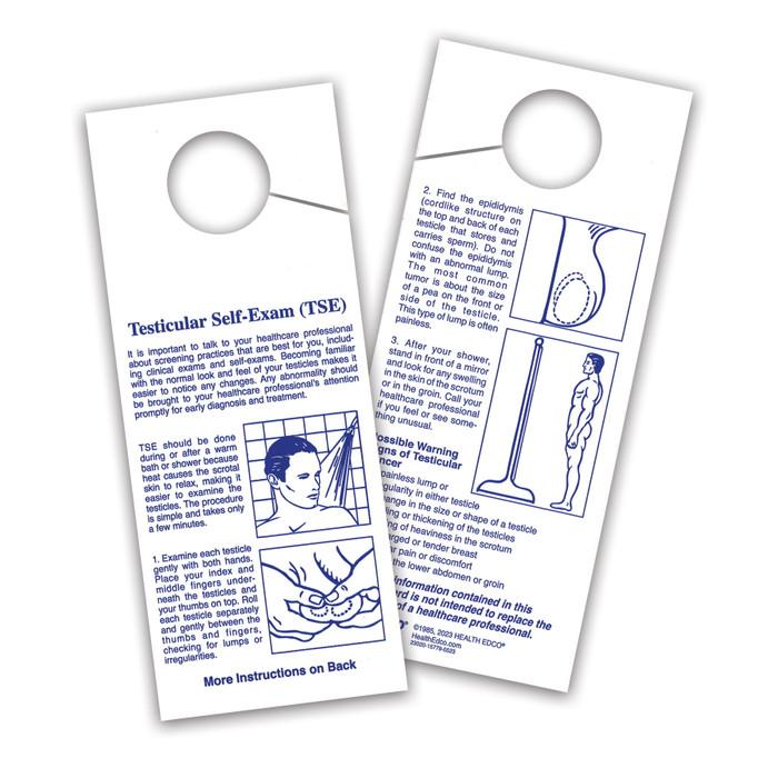 TSE shower card, testicular self-exam method, testicular cancer warning signs, Health Edco, 23020