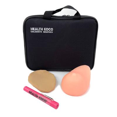 Teen BSE Model in beige skin tone with slipcover, penlight, and case, women's breast health model, Health Edco, 26528