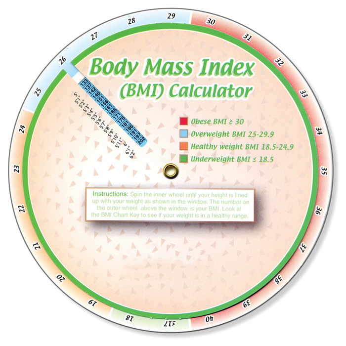 """Body Mass Index Calculator, colorful 6"""" wheel aligns height-weight to show body mass index, Health Edco, 30172"""