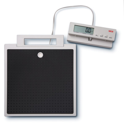 scale with body mass index function, lightweight digital scale with black non-slip surface and remote display can calculate body mass index (BMI), Health Edco, 30252