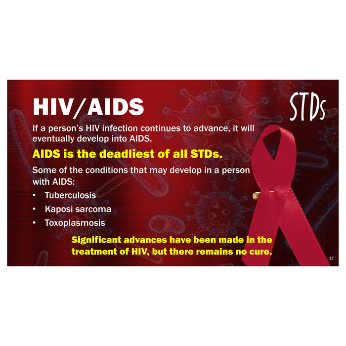 STDs PowerPoint, 38-frame graphic STD presentation on disc, individual frame about cancer from HPV, Health Edco, 30272