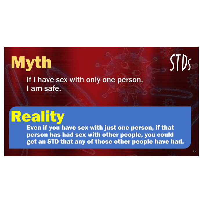 STDs PowerPoint, 38-frame graphic STD presentation on disc, individual frame describing a myth about STDs, Health Edco, 30272
