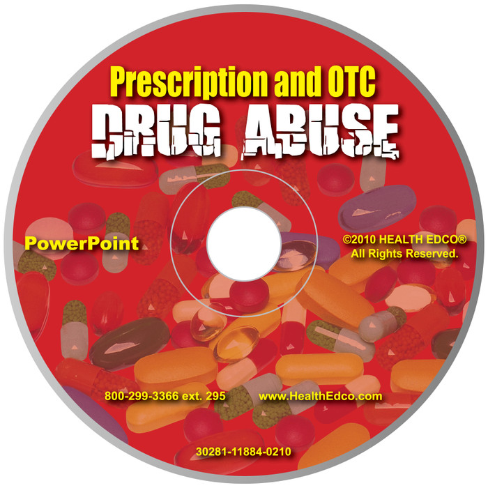 Prescription and Over the Counter Drug Abuse Powerpoint, 36 frame presentation on disc includes opioid abuse signs and symptoms, Health Edco, 30281