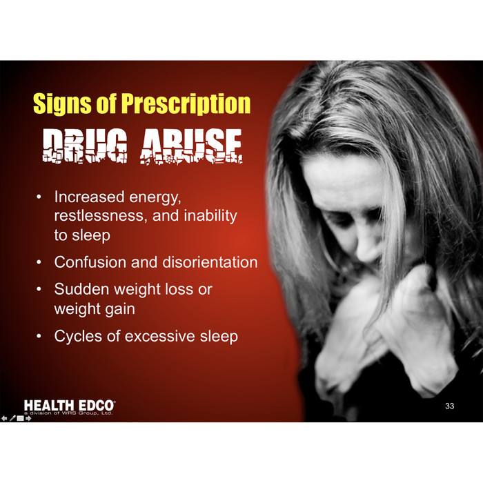 Prescription and Over the Counter Drug Abuse 36 frame Powerpoint, presentation on disc includes opioid abuse signs and symptoms, frame shows signs of prescription drug abuse, Health Edco, 30281