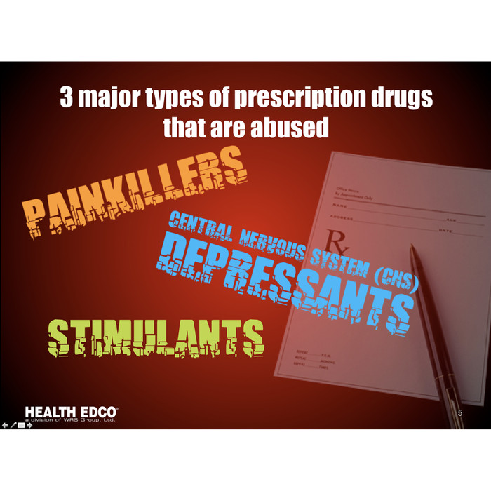 Prescription and Over the Counter Drug Abuse 36 frame Powerpoint,presentation on disc includes opioid abuse signs and symptoms, frame lists major types of prescription drugs, Health Edco, 30281