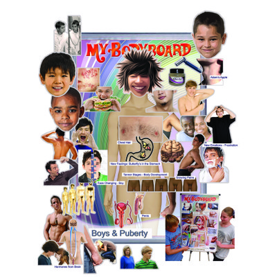 My BodyBoard with male puberty magnet sets, interactive magnet board puberty changes boys magnets, Health Edco, 30322