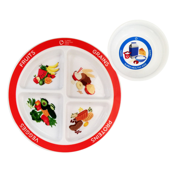 MyPlate kids plate and bowl set, 4-sectioned plate and separate dairy bowl portioned for kids with imprinted food groups, BPA PVC and melamine free, Health Edco, 30534