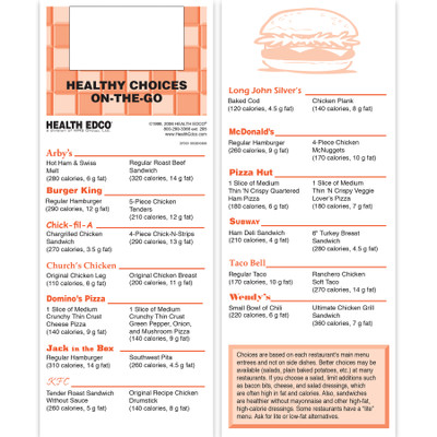 healthy eating out folded 8-panel pocket guide, guide includes nutrition information for fast food choices, Health Edco, 37012