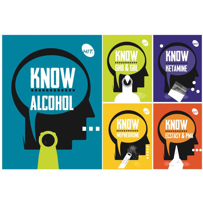 5 leaflet set about alcohol ecstasy PMA mephedrone ketamine GHB GBL, Health Edco, 38009