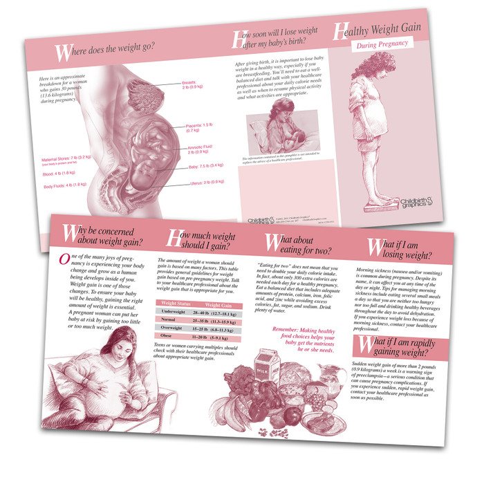 healthy weight gain during pregnancy 8-panel pamphlet, healthy weight gain for healthy baby as well as healthy weight loss postpartum, inside and outside of pamphlet view, Childbirth Graphics, 38034