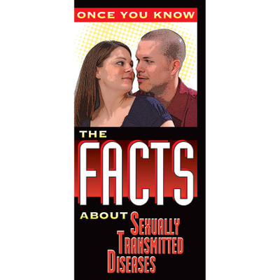 the facts about STDs 8-panel pamphlet cover image, explains common STDs or STIs as well as safer sex practice, Health Edco, 38074