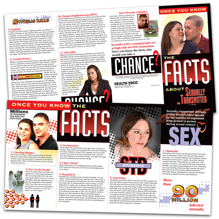 the facts about STDs 8-panel pamphlet inside and outside pamphlet image, explains common STDs or STIs as well as safer sex practice, Health Edco, 38074