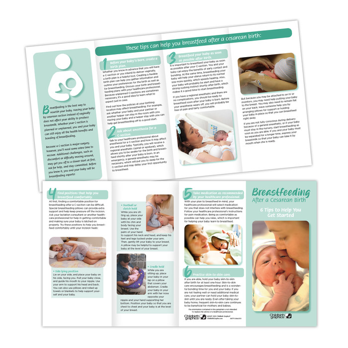 breastfeeding after a Cesarean birth 8-panel pamphlet, inside and outside of brochure pictured, breastfeeding positions and taking medications discussed, Childbirth Graphics, 38079
