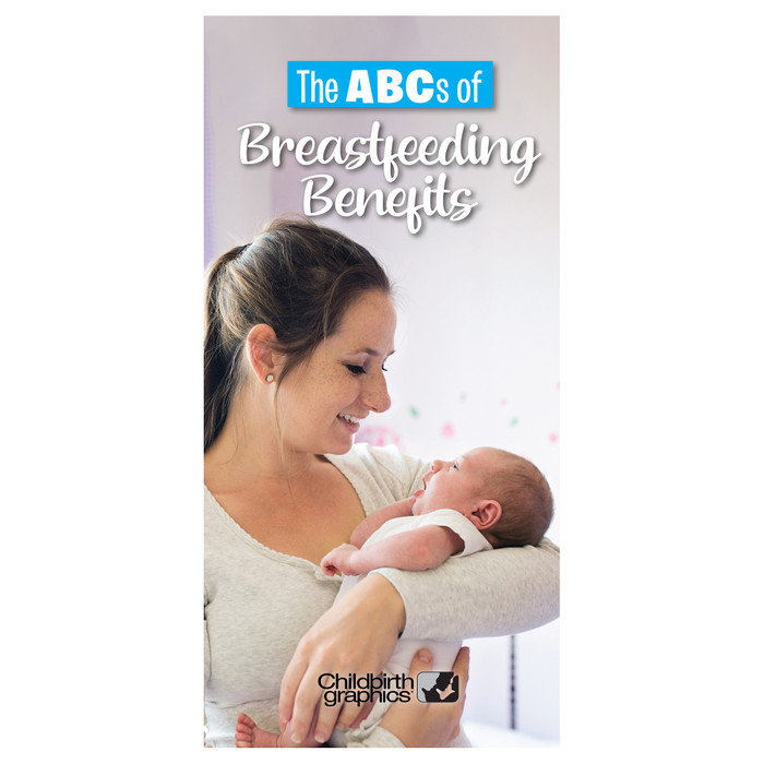 breastfeeding benefits 8-panel pamphlet cover image, numerous breastfeeding benefits highlighted, Childbirth Graphics, 38138