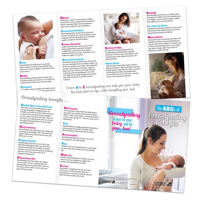 breastfeeding benefits 8-panel pamphlet image of both sides, numerous breastfeeding benefits highlighted, Childbirth Graphics, 38138