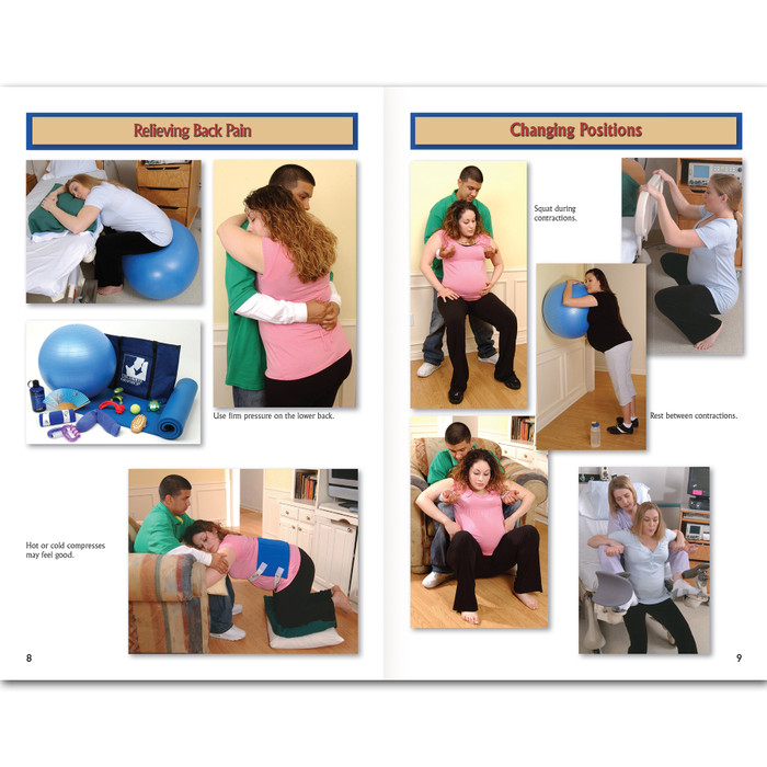 Birth Companion booklet English/Spanishrelieving back pain and changing positions pages, photographic reference of labor comfort measures, Childbirth Graphics, 38525
