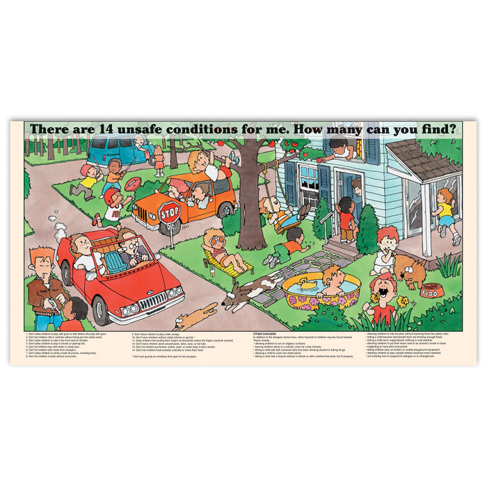 Mama make me safe pamphlet/poster inside pamphlet image, colorful cartoon illustrations depict unsafe situations for children, Childbirth Graphics, 38580