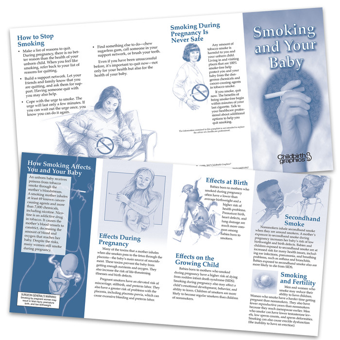 Smoking and your baby two-color pamphlet inside and outside shown, emphasizes dangers of smoking to mother and baby, Childbirth Graphics, 38619