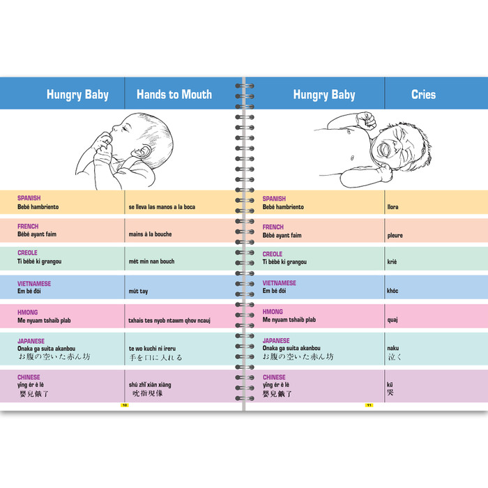 Breastfeeding Terms Techniques Problem Solving Glossary in 7 languages illustrated inside spread hungry baby hands to mouth hungry baby cries, Childbirth Graphics, 38806