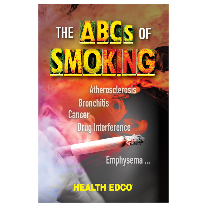 The ABCs of Smoking 16-page booklet cover, operating room scene with list of smoking related conditions, Health Edco, 40013