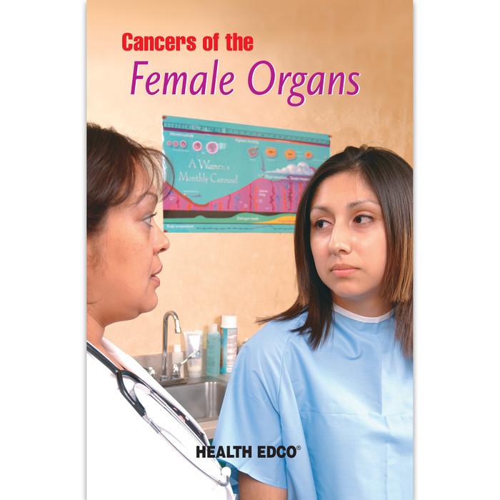 Cancers of the Female Organs 16-page booklet cover, doctor and patient discussing condition, Health Edco, 40015