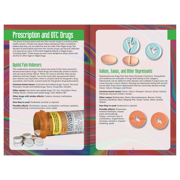 Substance Abuse Identification Guide 16-page booklet 2-page spread, prescription and over the counter (OTC) drugs includes photos, Health Edco, 40022