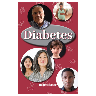 Diabetes booklet for diabetes and health education from Health Edco, cover of diabetes teaching booklet for patients, 40065