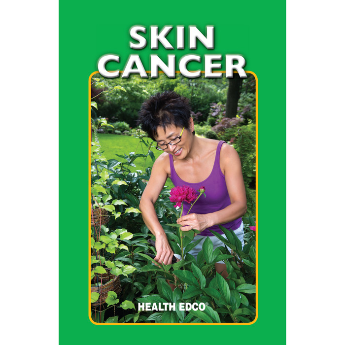 Skin Cancer 16-page booklet cover, Asian woman cutting flowers in garden, Health Edco, 40071