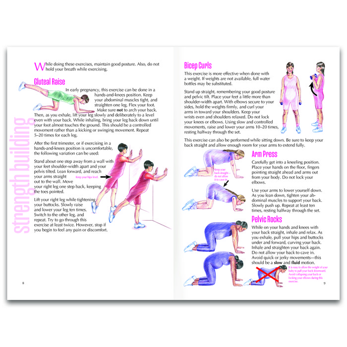 Exercises for a Healthy Pregnancy 16-page illustrated booklet inside spread, strength-building exercises, Childbirth Graphics, 40401