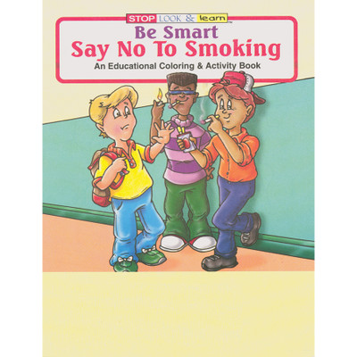 Say No to Smoking cartoon Coloring and Activity Book cover, cartoon kids two smoking one holding up hand, Health Edco, 41007