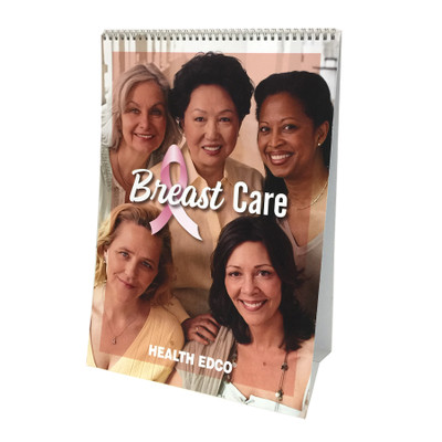 Breast Care 6-panel spiral bound flip chart English cover, multi-ethnic women scanning devices collage, Health Edco, 43108