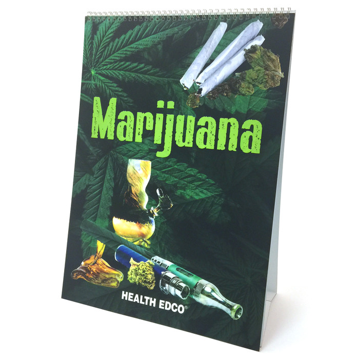 Marijuana 6-panel spiral bound flip chart cover, young man wearing sunglasses lighting a joint, Health Edco, 43111