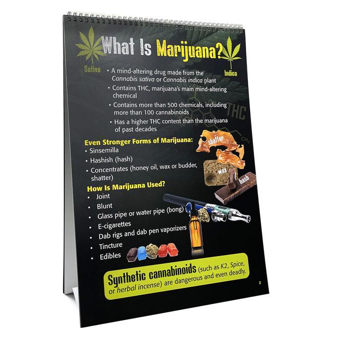 Marijuana 6-panel spiral bound flip chart panel 5, collage of damage caused by smoking marijuana, Health Edco, 43111