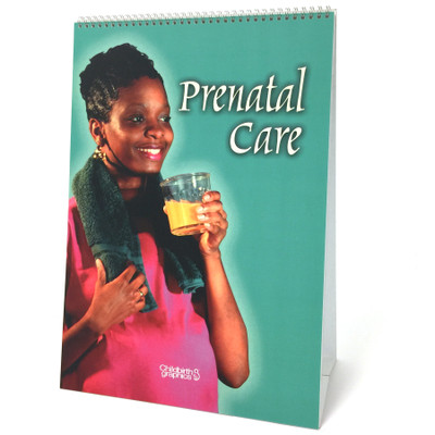 Prenatal Care 6-panel spiral bound flip chart cover, black woman towel around neck orange juice, Childbirth Graphics. 43125