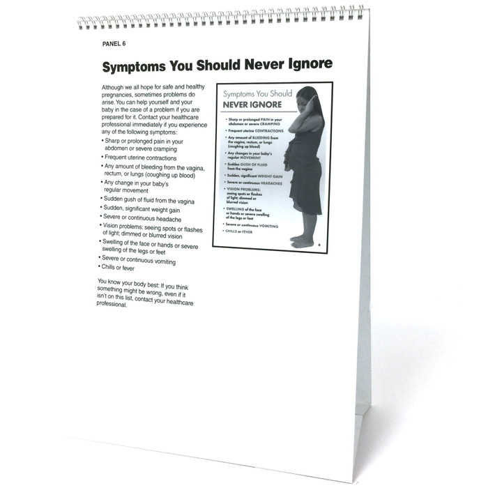 Prenatal Care 6-panel spiral bound flip chart panel 6 teaching notes, pregnancy problems not to ignore, Childbirth Graphics. 43125