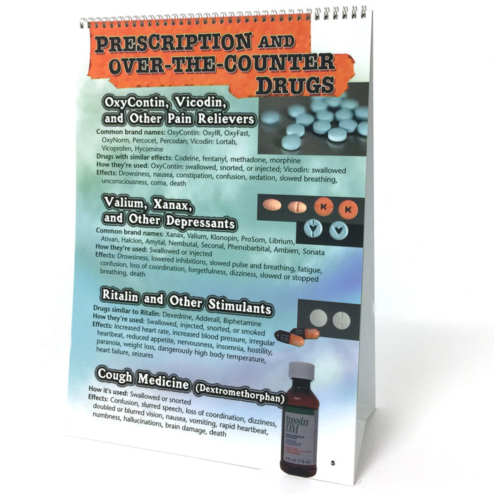 Substance Abuse Identification Guide 6-panel spiral bound flip chart panel 5 prescription and OTC drugs names effects how used, Health Edco, 43161