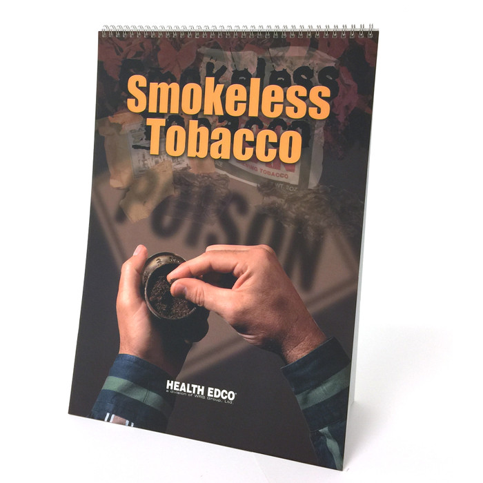 Smokeless Tobacco 6-panel spiral bound flip chart cover, hands snuff tobacco products ghosted POISON, Health Edco, 43163