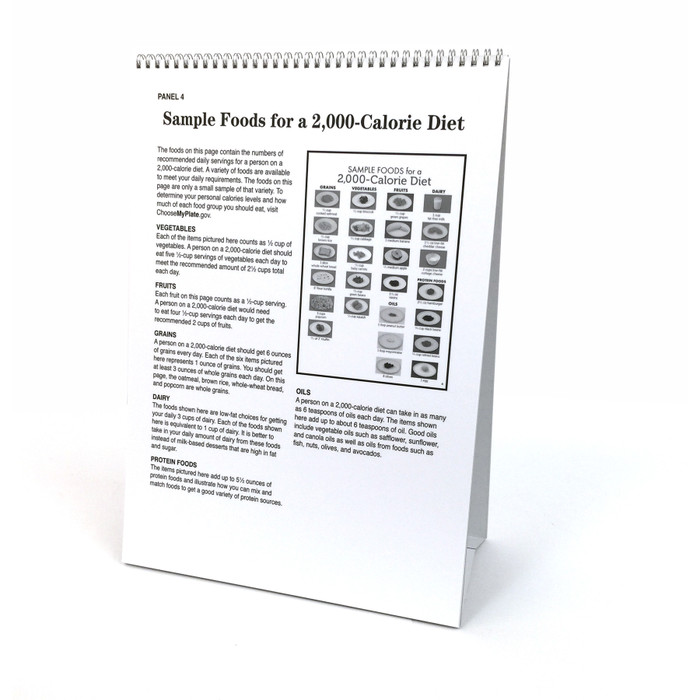 Nutrition Basics 6-panel spiral bound flip chart sample foods for 2000 calorie diet teaching notes, Health Edco, 43326