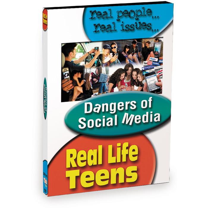 Real Life teens Dangers of Social Media DVD, collage of teens using social media, Health Edco, 48828