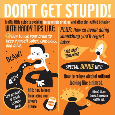 Don't Get Stupid illustrated comic-style alcohol use prevention booklet, orange black square cover, Health Edco, 49500