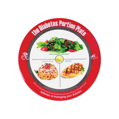 Diabetes Portion Plate real food red bordered plastic plate divided in sections food photos food groups, Health Edcom 50324
