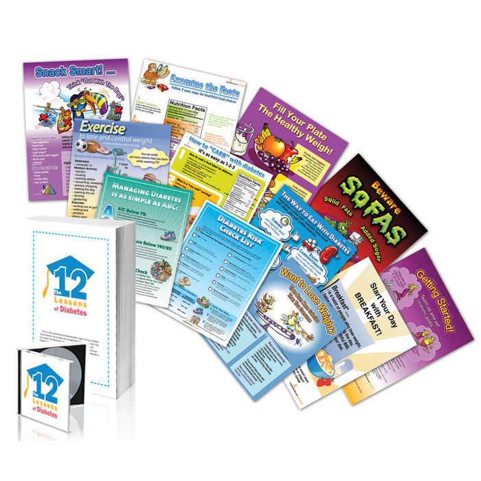 12 Lessons of Diabetes Package 12-18 x 24 laminated posters book cd, Health Edco, 50331