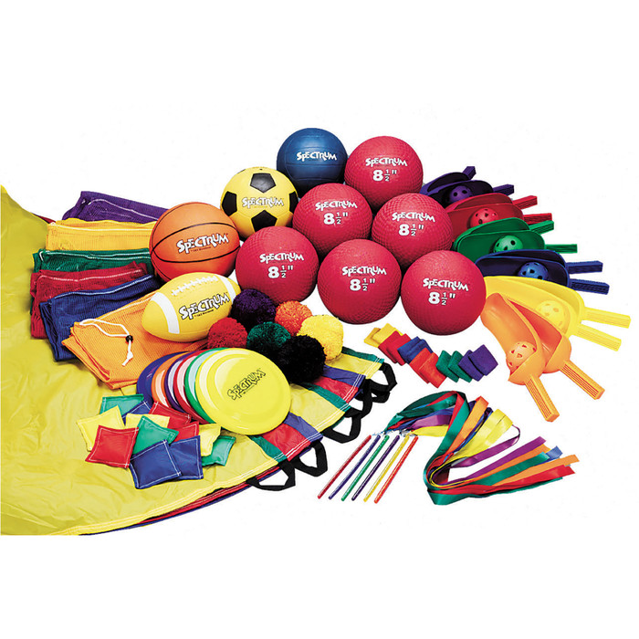 Recreational Value Pack, assorted activity items balls flyers parachute bean bags ribbon wands, Health Edco, 50478