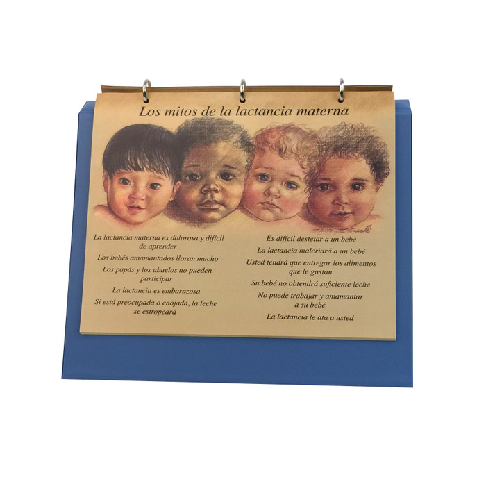 Breastfeeding illustrated Chart Set 3 ring binder English-Spanish, myths about breastfeeding spanish panel, Childbirth Graphics, 50705