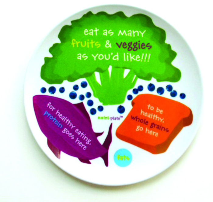 "Nutri-plate, 8"" brightly painted illustrated plate simpke phrases to remember what to eat, Health Edco, 50812"