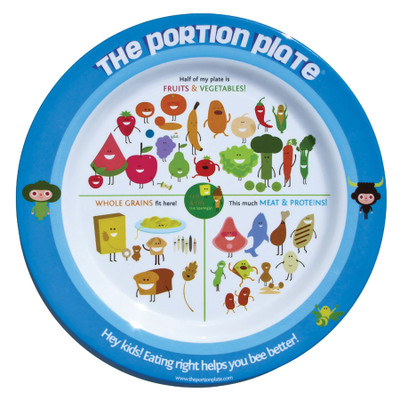 Child's Portion Plate, melamine plate with colorful cartoon foods, USDA guidelines, Health Edco, 50883