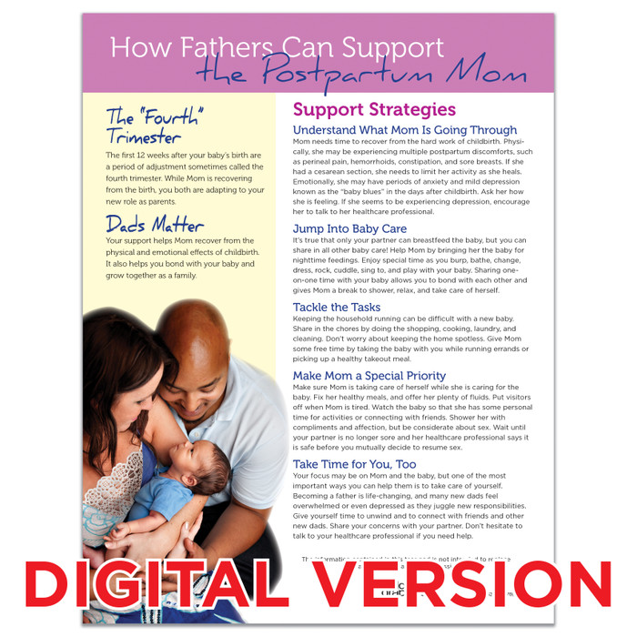 How Fathers Can Support the Postpartum Mom Tear Pad, Virtual, digital fatherhood teaching tool by Childbirth Graphics, 52082V